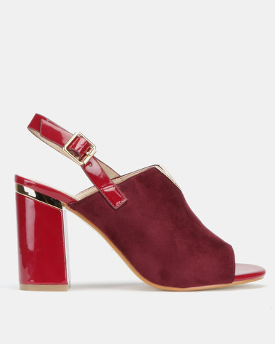 Utopia V Trim Block Heel Sandals Burgundy