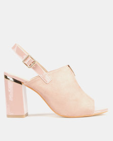 Utopia V Trim Block Heel Sandals Pink