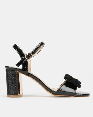 Utopia Bow Trim Block Heels Black