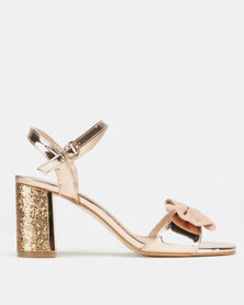 Utopia Bow Trim Block Heels Rose Gold