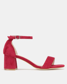Utopia Mid Block Heel Sandals Burgundy