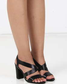 Utopia Elastic Shimmer Block Heels Black