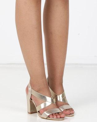 5c3701f8543 Utopia Elastic Shimmer Block Heels Gold