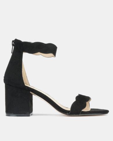 Utopia Scallop Block Heels Black