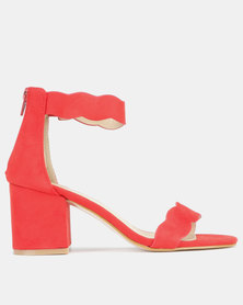 Utopia Scallop Block Heels Red
