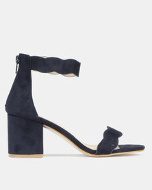 Utopia Scallop Block Heels Navy