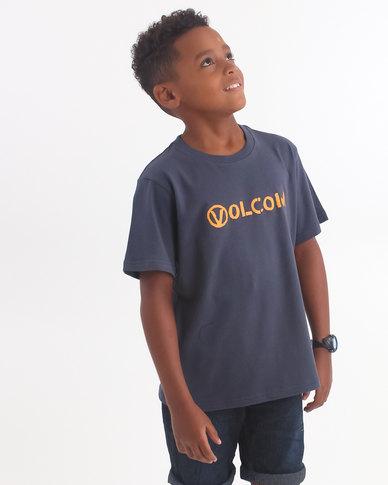 Volcom Boys Stone Spew T-Shirt Blue