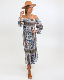 O'Neill Kelly Dress Brown/Blue