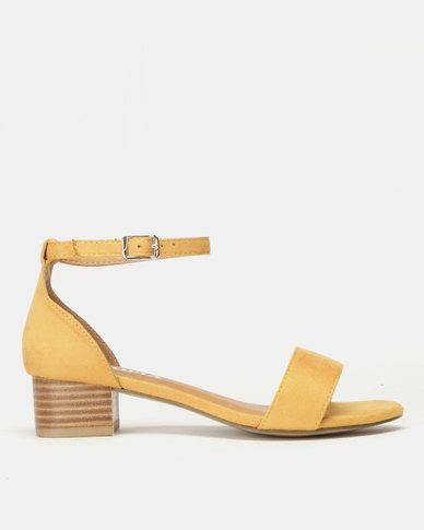 Utopia Low Block Heel Sandals Mustard