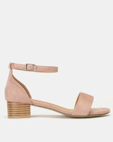 Utopia Low Block Heel Sandals Pink