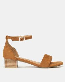 Utopia Low Block Heel Sandals Brown