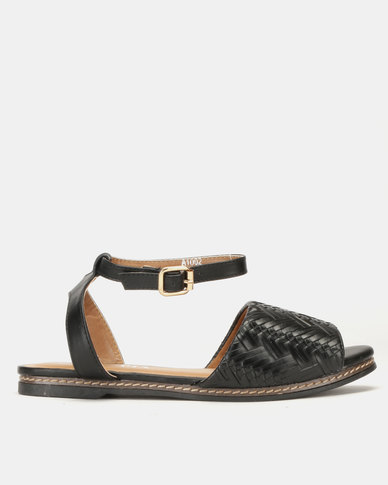 Utopia Weave Flat Sandals Black