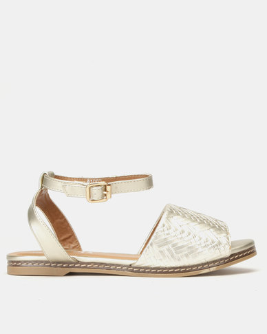 Utopia Weave Flat Sandals Light Gold