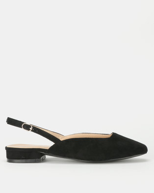 Utopia Flat Slingbacks Black