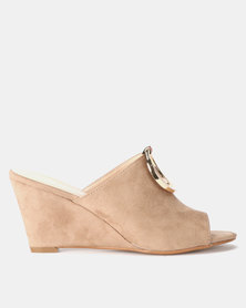 Utopia Wedge Mules Khaki