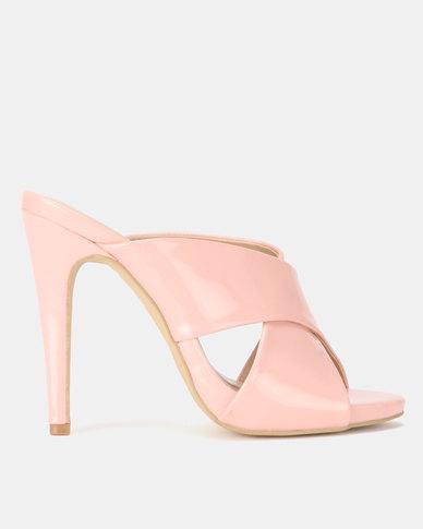 8b14022a5c42 Utopia Cross Strap Mule Heels Soft Pink