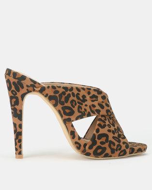 Utopia Cross Strap Mule Heels Leopard