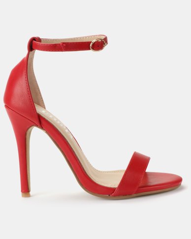 Utopia PU Barely There Sandals Red