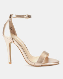 Utopia PU Barely There Sandals Rose Gold