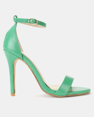Utopia PU Barely There Sandal Heels Green