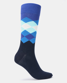 Happy Socks Faded Diamond Socks Blue