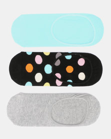 Happy Socks 3-Pack Big Dot Liner Socks Multi