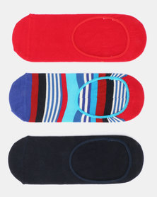 Happy Socks 3 Pack Multi Stripe Liner Socks Multi