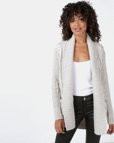 New Look Shawl Collar Cable Knit Cardigan Grey
