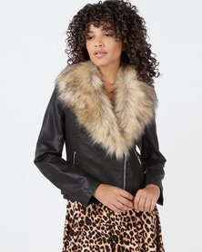 New Look Leather-Look Faux Fur Collar Jacket Black