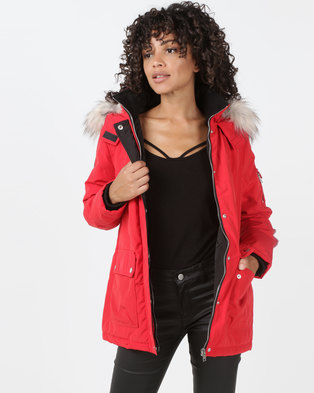 New Look Ski Style Parka Bright Red