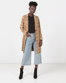 New Look Grid Check Longline Coat Camel