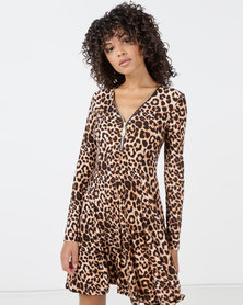 New Look Print Zip Neck Soft Touch Dress Brown Leopard