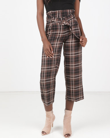 New Look Paperbag Waist Crop Trousers Brown Check