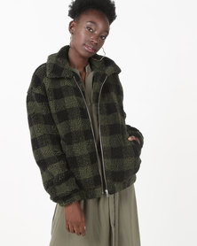 New Look Teddy Borg Bomber Jacket Green Check