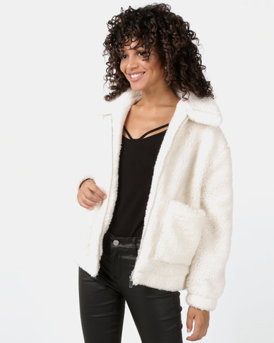 New Look Teddy Borg Pocket Front Jacket White