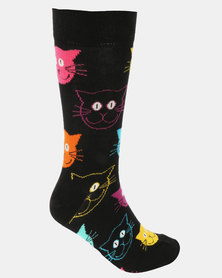 Happy Socks Cat Socks Black Multi