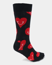 Happy Socks Smiley Heart Socks Navy Multi