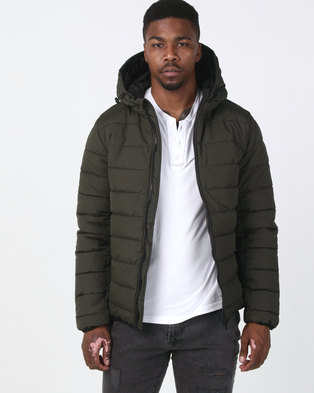New Look Hooded Puffer Jacket Khaki