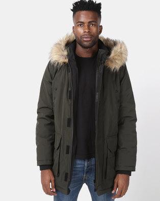 New Look Faux Fur Trim Hooded Parka Khaki