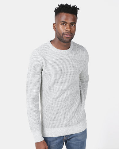 New Look Stitch Knitted Jumper Pale Grey