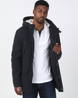 New Look Cotton Long Sleeve Parka Jacket Navy