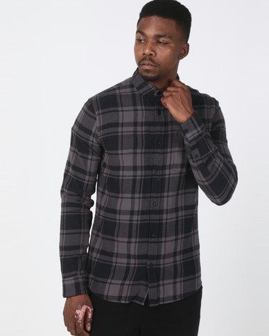 New Look Check Cotton Long Sleeve Shirt Dark Grey