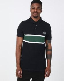 New Look Colour Block Fairbanks Logo Polo Shirt Navy