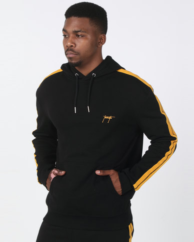 New Look Striped Sleeve Sports Toronto Embroidered Hoodie Black