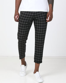 New Look Elasticated Check Grid Trousers Black