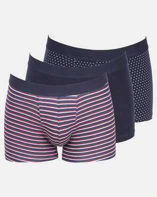 New Look 3 Pack Navy Spot and Stripe Print Trunks