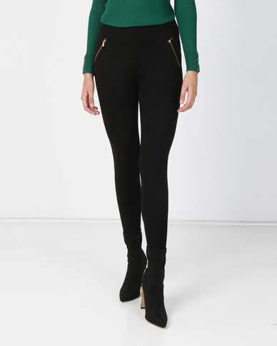 New Look Side Zip Leggings Black