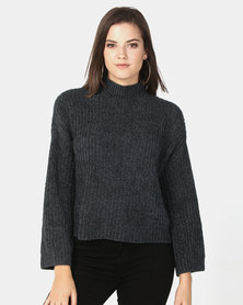 New Look Flared Sleeve Chenille Jumper Dark Green