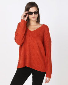 New Look Ribbed Lattice Back Jumper Orange