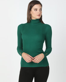 New Look Roll Neck Popper Cuff Top Green